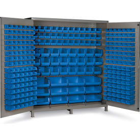 "SSC-722484-BDLP-264-5295G Bin Cabinet Flush Door with 264 Blue Bins, 16 Ga. All-Welded Cabinet 72""W x 24""D x 84""H, Gray"