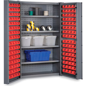 "DC48-128-4S-1795G Bin Cabinet Deep Door with 128 Red Bins, 16 Ga. All-Welded Cabinet 48""W x 24""D x 72""H, Gray"