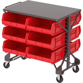"B2065749 Akro-Mills Shelf-Top Bin Cart - 38-1/2 x24x36-1/2"" - (12) 16-1/2 x14-3/4 x7"" Bins - Red"