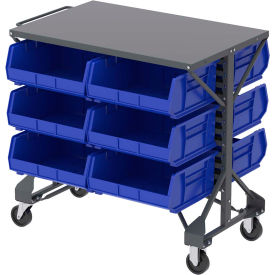 "B2065792 Akro-Mills Shelf-Top Bin Cart - 38-1/2 x24x36-1/2"" - (12) 16-1/2 x14-3/4 x7"" Bins - Blue"