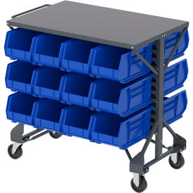 "B2065796 Akro-Mills Shelf-Top Bin Cart - 38-1/2 x24x36-1/2"" - (24) 8-1/4 x14-3/4 x7"" Bins - Blue"