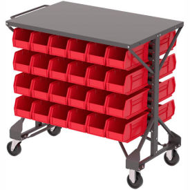 "B2065797 Akro-Mills Shelf-Top Bin Cart - 38-1/2 x24x36-1/2"" - (48) 5-1/2 x10-7/8 x5"" Bins - Red"