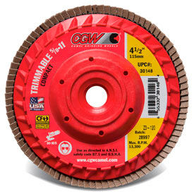 "30204 CGW Abrasives 30204 Trimmable Flap Discs with Built in Hub 4-1/2"" x 5/8-11"" 60 Grit Ceramic"