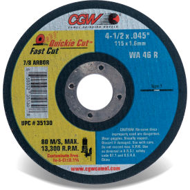 "35130 CGW Abrasives 35130 Fast Cut Thin Cutting Wheel 4-1/2"" x 0.045"" x 7/8"" Type 1 Aluminum Oxide"