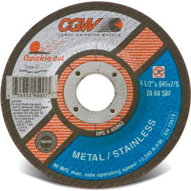 "45007 CGW Abrasives 45007 Cut-Off Wheel 6"" x 7/8"" 60 Grit Type 27 Zirconia Aluminium Oxide"