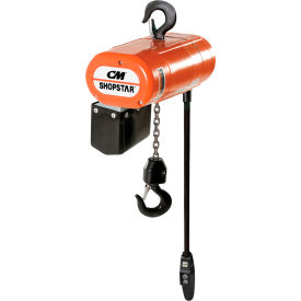 2109/2064 CM ShopStar Electric Chain Hoist W/Chain Container 1000Lb Cap 6 FPM 10 Lft 110V