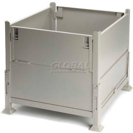 "KD2GS-01 Davco KD2GS-01 Collapsible Sheet Metal Steel Container 40-1/2""x34-1/2""x32"" 2 Gates Zinc-Galv"