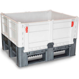"decade dfc quick assembly folding container solid wall 48""l x 40""w x 29""h 1650 lb capacity gray Decade DFC Quick Assembly Folding Container Solid Wall 48""L x 40""W x 29""H 1650 lb Capacity Gray"