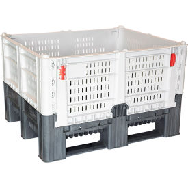 "decade dfc quick assembly folding container vented wall 48""l x 40""w x 29""h 1650 lb capacity gray Decade DFC Quick Assembly Folding Container Vented Wall 48""L x 40""W x 29""H 1650 lb Capacity Gray"