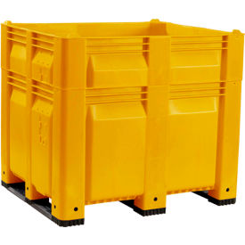 decade c40syl3-h46 macx heightened pallet container solid wall 48x40x46 yellow 1500 lb. capacity Decade C40SYL3-H46 MACX Heightened Pallet Container Solid Wall 48x40x46 Yellow 1500 Lb. Capacity
