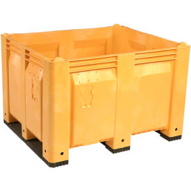 decade m40syl3 pallet container solid wall 48x40x31 short side runners yellow 1500 lb. capacity Decade M40SYL3 Pallet Container Solid Wall 48x40x31 Short Side Runners Yellow 1500 Lb. Capacity