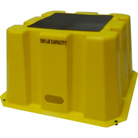 "NBST-1-14 1 Step Tall Nestable Plastic Step Stand - Yellow 25""W x 25""D x 14-3/4""H - NBST-1-14"