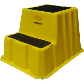"NST-2-14 2 Step Nestable Plastic Step Stand - Yellow 25-3/4""W x 32-3/4""D x 20-1/2""H - NST-2-14"