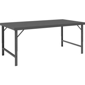 "Durham WBF-30120-95 120""W x 30""D Folding Leg Workbench - Steel Square Edge, Gray"