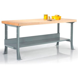 "60"" x 36"" steel workbench with maple butcher block square edge top & shelf 60"" x 36"" Steel Workbench with Maple Butcher Block Square Edge Top & Shelf"