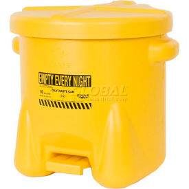 935-FLY Eagle 10 Gallon Poly Waste Can W/ Foot Lever, Yellow - 935-FLY
