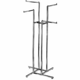 K12 4-Way w/ 2 Straight and 2 Slant Arms (R12) Garment Rack - Square Tubing - Chrome