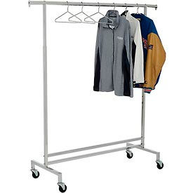 K43 Single Hangrail Rolling Clothes Rack (K43) - Heavy Duty Square Tubing - Chrome