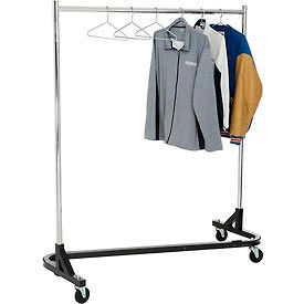 RZK/7 Rolling Z Rack - Heavy Duty Square Tubing (RZ/1) - Chrome Upright & Hangrail - Black Base