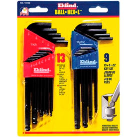 "13222 Eklind 13222 .050-3/8"" & 1.5MM-10MM 22Pc. Ball End Combo Metric & SAE Hex Key Set"