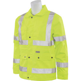 erb® s371 ansi class 3 raincoat hi vis lime, xl, 61482