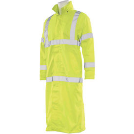 erb® s163 ansi class 3 long raincoat hi vis lime medium, md, 62028