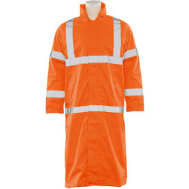 erb® s163 ansi class 3 long raincoat hi vis orange, md, 62035