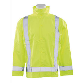 erb® s373d ansi class 3 lightweight oversized raincoat hi vis lime, md-lg, 63007