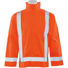 erb® s373d ansi class 3 lightweight oversized raincoat hi vis orange, md-lg, 63011