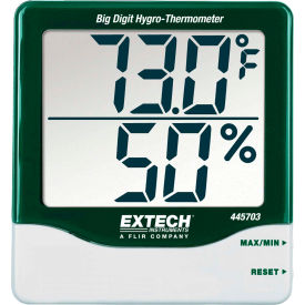 445703 Extech 445703 Big Digit Hygro-Thermometer, Green/White, 445703, Wall Mount, AAA battery