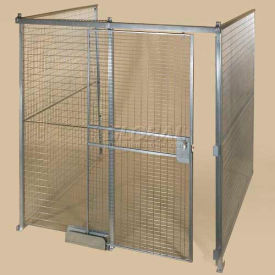 QWK12128-3 Qwik-Fence; Wire Mesh Pre-Designed, 3 Sided Room Kit, W/O Roof 12W X 12D X 8H, W/Slide Door