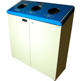 316 Frost Free Standing Three Stream Recycling Station, Blue and Gray Finish, 316