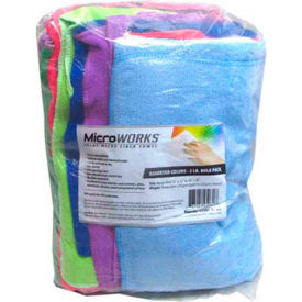 2503-AC-BG Microworks Microfiber Towels, Assorted 2lb. Bulk Bag - 2503-AC-BG