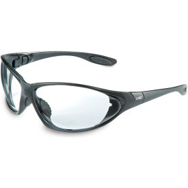 uvex® seismic hydroshield glasses, black frame, clear, scratch-resistant, hard coat, anti-fog