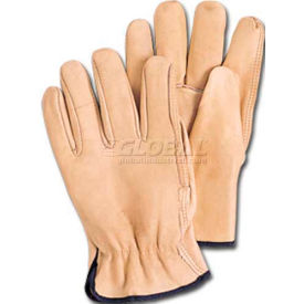 comfitwear® premium cowhide grain gloves, natural, medium, 1 dozen