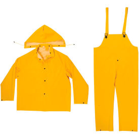 enguard 3-piece rainsuit, 35 mil pvc/polyester, snap closure, yellow, 4xl