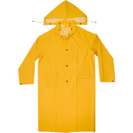 enguard 2-piece raincoat, 35 mil pvc/polyester, snap closure, yellow, xl