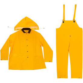 enguard 3-piece heavy duty rainsuit, 35 mil pvc/polyester, snap closure, yellow, l