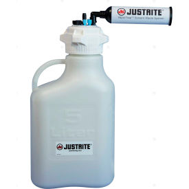 justrite 12821 vaportrap™ carboy with filter, hdpe, 20-liter, 8 ports Justrite 12821 VaporTrap™ Carboy With Filter, HDPE, 20-Liter, 8 Ports