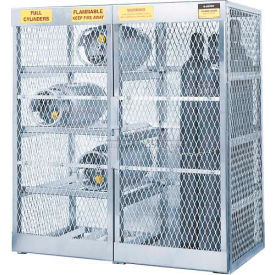 "23008 Justrite Combo Horizontal & Vertical Cylinder Aluminum Storage Cabinet, 60""W x 32""D x 65""H"