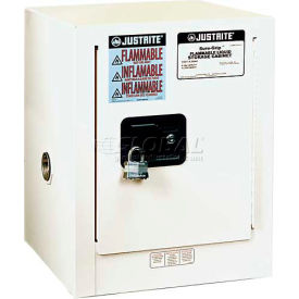 "890405 Justrite 4 Gallon 1 Door, Manual, Countertop, Flammable Cabinet, 17""W x 17""D x 22""H, White"