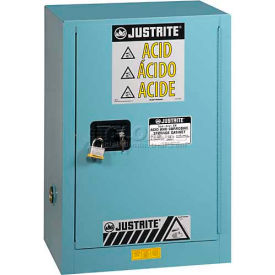 "8912224 Justrite 12 Gal.1 Door, Self-Close, Acid Corrosive Cabinet w/Painted Bottom, 23-1/4""Wx18""Dx35""H,Blue"