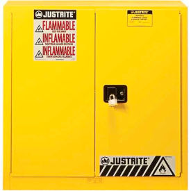 "893030 Justrite 40 Gallon 2 Door, Self-Close, Paint & Ink Cabinet, 43""W x 18""D x 44""H, Yellow"