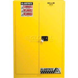 "894530 Justrite 60 Gallon 2 Door, Self-Close, Paint & Ink Cabinet, 43""W x 18""D x 65""H, Yellow"