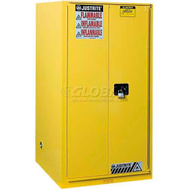 "896010 Justrite 96 Gallon 2 Door, Manual, Paint & Ink Cabinet, 34""W x 34""D x 65""H, Yellow"