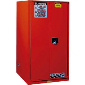 "896021 Justrite 60 Gallon 2 Door, Self-Close, Flammable Cabinet, 34""W x 34""D x 65""H, Red"