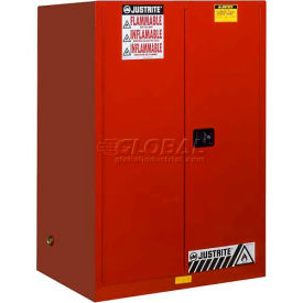 "899021 Justrite 90 Gallon 2 Door, Self-Close, Flammable Cabinet , 43""W x 34""D x 65""H, Red"