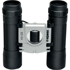 Konus 2008 Basic 10X25mm Compact Binoculars, Central Focus, Ruby Coating, Black/Silver