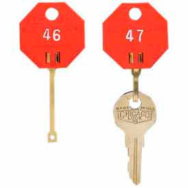 201800207 MMF Self-Locking Octagonal Key Tags 01800207 Plain, Pack of 20 Tags, Red