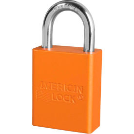 "american lock® s1105orj aluminum safety padlock, 1-1/2""w x 1""h shackle, orange"